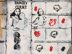 Family Court (Steve Taylor (Photography)) Tags: skull dollarsign familycourt mother babeinarms maori graffiti stencil streetart black red white brown sad child woman lady newzealand nz southisland canterbury christchurch newbrighton texture