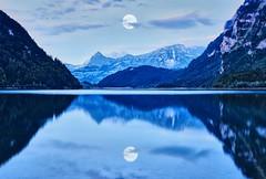 moonlit reflections (ODISEA VISUALS) Tags: alpes alps swiss swissalps mountains reflections moon night longexposure blue lake switserland