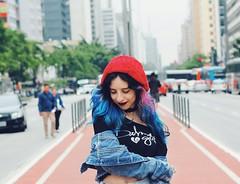 city girl~ (Memórias Fotográficas) Tags: city girl woman paulista avenue 50mm picture photograph photography cute style hair blue pink sp sao paulo street winner vsco vscocam smile model alternative tumblr inspiration