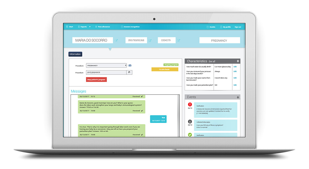 Dashboard with patient data and message history