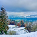 Winter view from Hocheck near Oberaudorf in the river Inn valley, Bavaria, Germany thumbnail