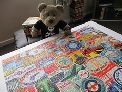 Let's go trav'llin'! (pefkosmad) Tags: jigsaw puzzle hobby leisure pastime used complete secondhand marksandspencer ms marksspencer 1000pieces luggagelabels travel tourism tedricstudmuffin teddy ted bear animal toy cute cuddly plush fluffy soft stuffed collage