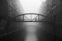 Kehrwiederspitze (digital_underground) Tags: hamburg germany water fog mist haze alone urban street streetphotography person people