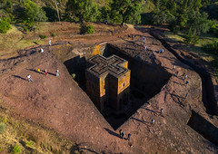 Aerial view of the monolithic rock-cut church of bete giyorgis, Amhara Region, Lalibela, Ethiopia (Eric Lafforgue) Tags: aerialview africa amhararegion ancient architecture builtstructure carving christianity church colourimage colourpicture cross day drone ethiopia ethiopia18dr0240 famousplace giyorgis history horizontal hornofafrica incidentalpeople internationallandmark lalibela medieval monolithic monument orthodox orthodoxchurch outdoors photography placeofworship religion rock saintgeorge scenics spirituality stgeorge stgeorgeschurch traveldestinations unescoworldheritagesite et