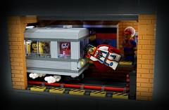 Captain Figbarf (TFDesigns!) Tags: lego subway superhero minifig hero lug display train