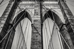 My favorite part of the bridge... Let's walk together... (cesar.toribio1218) Tags: bridges newyork brooklynbridge brooklyn beautifulview blackandwhitephotos blackandwhite abeautifulplace citylife thebigapple structures metalstructures