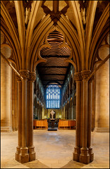 Southwell Minster - HDR (G. Postlethwaite esq.) Tags: 3exposures hdr southwellminster unlimitedphotos arches church cross photoborder pillars stainedglass window