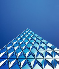 Blue Architecture / Building (Silver Diamond Wallpaper) (theagif) Tags: abstract architectural architecture art blue sky bright building exterior business contemporary design geometric glass panels modern pattern reflection shape structure toronto triangle urban wormss eye view