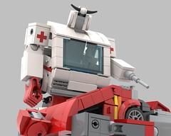 lego Transformers G1 Ratchet (recolor) (KaijuWorld) Tags: lego moc custom g1 transformers ironhide ratchet medic battle platform autobot ambulance toyota van ldd