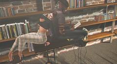Coffee & Cheesecake. (P i e r c e K a r u) Tags: laveau glasses bento books library secondlife shadow sl shadowsandlight scene family piercekaru photoshop ps photography photomanipulation poses indoor inside art ascend tokyo read room reading signature
