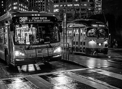 (Mr_Andre) Tags: muni bayarea blackandwhite bus californa marketstreet night rain sanfrancisco streetcar trolley california unitedstatesofamerica us