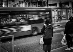 Missed the bus (Nikonsnapper) Tags: cardiff wales unitedkingdom gb leica m10 summicron 35mm street bus motion blur crossing people waiting buspass