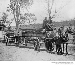 C. 1890 Fire Dept No 3 hartshorn iron side truck on Clinton ave near Bleecker Reservoir (albany group archive) Tags: 1890s old albany ny vintage photos picture photo photograph history historic historical