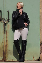 Tabea 24 (The Booted Cat) Tags: sexy blonde hair model girl smoking cigarette leather jacket boots overkneeboots