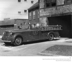 AFD Rescue Squad One at Western Avenue and Washington Avenue  Engine 1 (albany group archive) Tags: afd rescue squad one western avenue washington fire department engine house 1950s old albany ny vintage photos picture photo photograph history historic historical jjm pciture pictures hidtorical