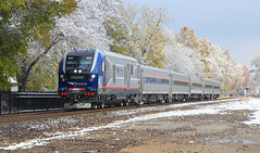 Early Autumn Snow (HighHor$epower) Tags: idtx4633 amtrak301 peoriaroad springfield sc44 sc44charger charger amtrakmidwest lincolnservice unionpacific springfieldsubdivision snow tier4