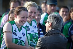 Linda Dessau Presenting Co-Captains Emma Kelly _ Aimee Louise Hazley with the first Womens International Cup Trophy (Australian Embassy Ireland) Tags: afl football aussie rules