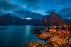 Lofoten Sunset (mousstique) Tags: contest lofoten norway articcircle sunset bluehour dusk rorbu red cabin fishermanhouse outdoors longexposure landscape fjord