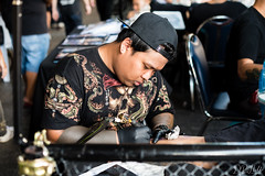 Tattoo Fest (D. R. Hill Photography) Tags: bangkok thailand thai asia southeastasia tattoo tattoofest festival ink artist art bodyart portrait environmentalportrait candid nikon nikond750 d750 nikon50mmf14g nikon50mm 50mm primelens fixedfocallength depthoffield bokeh