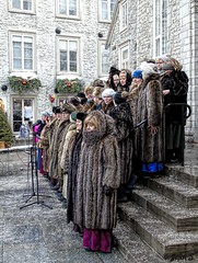 A Christmas song (Jean S..) Tags: sing singer music fur coat people stairs buildings old ancient men women