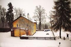 Train station (Jitka Ertelová) Tags: snow pernink december winter trees czechrepublic krusnehory erzgebirge oremountains trainstation canon