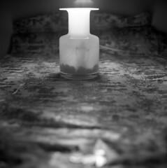 untitled (kaumpphoto) Tags: rolleiflex 120 tlr ilford bw black white stilllife vase glass transparent dark illumination