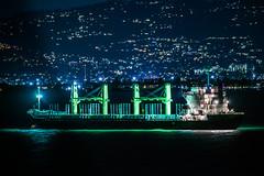 cold water tanker (pbo31) Tags: bayarea california nikon d810 night dark black newyearseve boury pbo31 sanfrancisco city color green ship tanker sail marine hunterspoint over reflection water