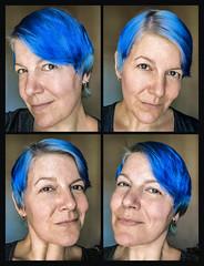 Autumn mermaid (Melissa Maples) Tags: antalya turkey türkiye asia 土耳其 apple iphone iphonex cameraphone multipanel tetraptych me melissa maples selfportrait woman bluehair shorthair