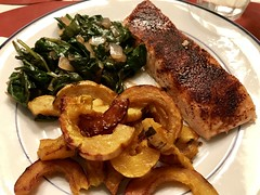 Baked Atlantic salmon, maple-glazed delicata squash, fresh spinach and onions braised in fig balsamic (TomChatt) Tags: food homecooking
