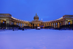 Kazan Cathedral. Christmas. (fedoseenko) Tags: санктпетербург россия красота colour beauty blissful loveliness beautiful saintpetersburg art dazzling light russia park peace white небо color sky pretty view heaven mood serene colours picture architecture building history tsar outdoors night ночь orthodox church cathedral cupola domes door gate religion snow frost freeze frosty снег святы места святыни собор field holy shrines walkway winter kazancathedral 5dmarkii blue ef1635f28lii evening landscape nativity архитектура вечер здание