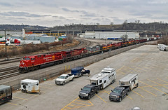Northbound Transfer in Kansas City, MO (Grant G.) Tags: cp candian pacific railroad railway kcs kansas city southern kcsm missouri north northbound bnsf ge emd power transfer yard job freight