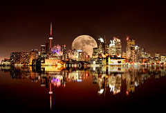 Full Moon Toronto (farenexusnexus) Tags: bathurst bridge street amazing architecture background buildings canada canadian city cityscape cn dark downtown evening full lake landmark light metropolis modern moon moonrise night nighttime ontario red reflection shot skyline skyscraper toronto tower urban view waterfront