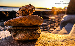 (phillip-austen) Tags: rocks balance pebbles stones beach sea coast uk kent folkestone sand autumn november sunset