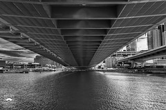 Flowing Under (allentimothy1947) Tags: boston charlesriver leonardpzakim ma massachusetts nixsilverefexpro2 architecture bw beauty blue bridge cablestayed cars clouds design hdr longexposure people ripple signs sky suspension tidal trafic trucks under waves