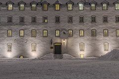 Seminary in winter night (le cabri) Tags: seminary night winter snow cold old quebec architecture building windows buildingexterior door light dusk entrance famousplace illuminated white tourism traveldestination unesco sme petitseminaire school