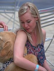 Instant Bonding (Scott 97006) Tags: woman female lady girl blonde beautiful pretty dog canine animal golden retriever petting pet