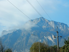Heading Towards Mountains (mikecogh) Tags: salzburg mountain telegraphpole majestic wires rugged sheer anif
