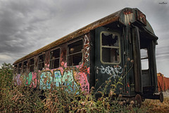 colorful wagon (dim.pagiantzas | photography) Tags: transportation train wagon old abandonment abandoned windows textures rust colors colorful graffiti plants sky rainy clouds cloudy perspective metal iron