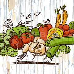 vintage vegetables on wood (Hebstreits) Tags: agriculture autumn background banner black card chalkboard collection collections cooking design diet drawing drawn etching festival food frame fresh fruit garden graphic green group hand harvest healthy illustration ingredient label market meal menu nature organic print produce raw retro sign summer vector vegetable vegetables vegetarian vintage white wood woodcut wooden