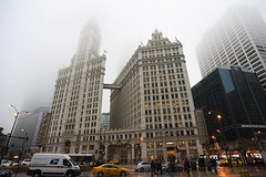 The Wrigley Building (Anthony Mark Images) Tags: thewrigleybuilding chicago illinois usa cars people fog road wetstreet reflections architecture skyscrapers streetlights magnicentmile nikon d850