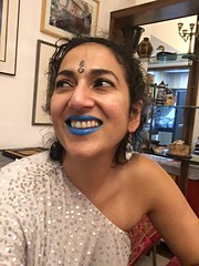 laughing with blue lip (olive witch) Tags: 2018 abeerhoque bangladesh bd dec18 december dhaka indoors me night nye