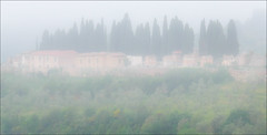 Early morning mist (kate willmer) Tags: mist buildings trees architecture weather siena tuscany italy