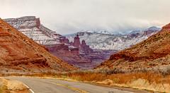 Winter in Utah (Greg Lundgren Photography) Tags: moab utah desert mountains fishertowers landscape southwest redrocks vacation highway128 travel lasal archesnationalpark canyonlands
