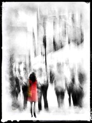 herself and her scarlet dress . . . (YvonneRaulston) Tags: impressionist emotive lady red street creative