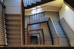 TUHH (Elbmaedchen) Tags: staircase stairwell stairs stufen hamburg harburg tuhh treppenhaus treppe steps interior upanddownstairs eckig escaliers escaleras linien