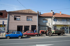 Pirot High Street Transport. Zastava, Yugo and an old tractor. (Chris Firth of Wakey.) Tags: zastava yugo pirot serbia