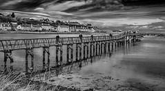 Over the bridge (PictishImages) Tags: tommcpherson fuji black 2018 inexplore crossing water river sea mono blackwhite scotland moray lossiemouth bridge