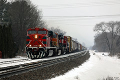 FXE 4620 (Jonah Arndt) Tags: fxe ferromex ferrocarril locomotive train rocks snow fog clouds trees rail bnsf