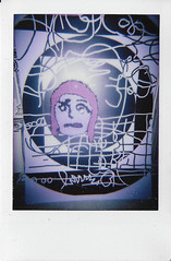 Messy (H o l l y.) Tags: lomograohy fuji instax instant film analog flash fiber art tapestry character painting studio purple weird fun funny retro indie vintage cartoon