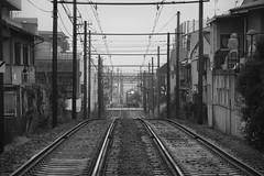 Randen (Andrew Allan Jpn) Tags: red pentax art train lines ricoh 55300 travel japan kyoto blackandwhite monochrome happyplanet asiafavorites